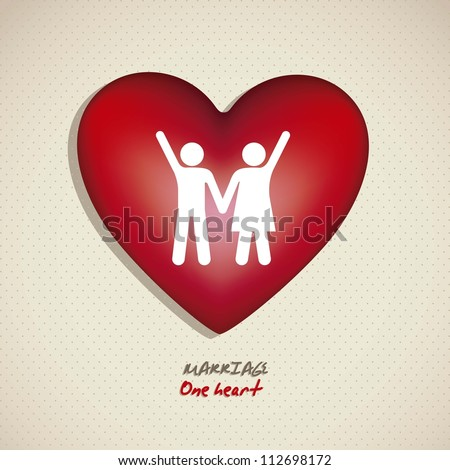 Illustration of a couple holding hands on a heart, working for marriage, vector illustration - stock vector
