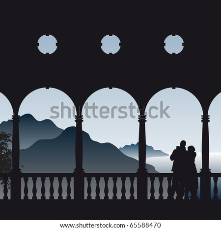Illustration of a couple in love enjoying their romantic view to the sea from the balcony - stock vector