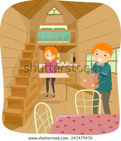 Illustration Of A Couple Living In Cute Tiny House Going About Their Daily Tasks