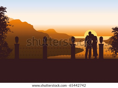 Illustration of a couple on a terrace watching the sun setting in the sea