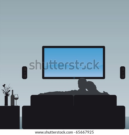 Illustration of a couple watching TV - the screen image can easily be exchanged