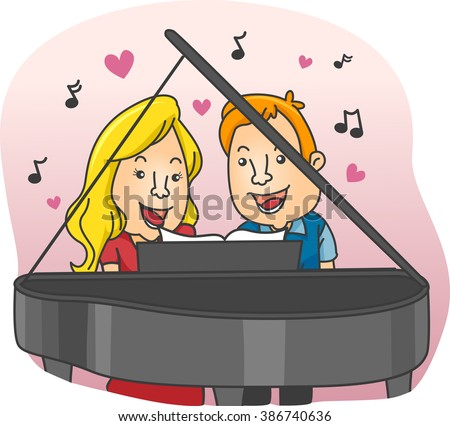 Illustration of a Couple while Having a Piano Duet
