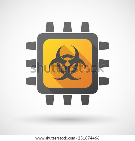 Illustration of a CPU icon with a biohazard sign - stock vector