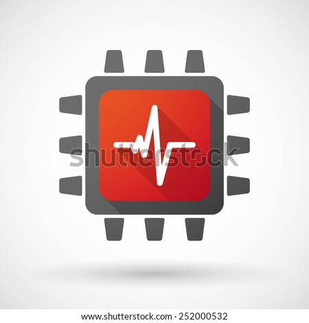 Illustration of a CPU icon with a heart beat sign - stock vector