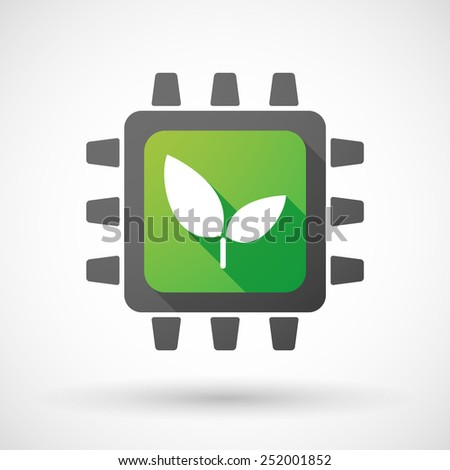 Illustration of a CPU icon with a plant - stock vector