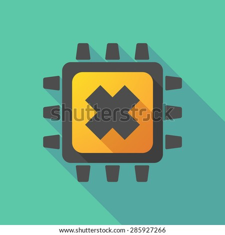 Illustration of a CPU icon with an irritating substance sign - stock vector
