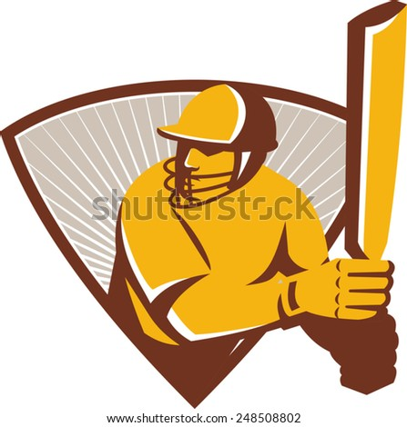 Illustration of a cricket batsman batting with bat set inside shield done in retro style. - stock vector
