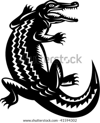illustration of a crocodile done in retro woodcut style. - stock vector