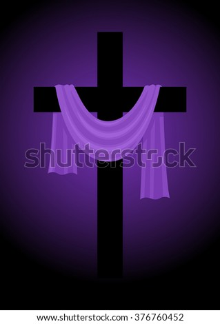 Illustration of a cross with purple sash, Good Friday, easter, christianity theme - stock vector