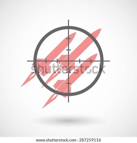 Illustration of a crosshair icon targeting missiles - stock vector