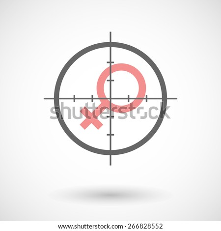 Illustration of a crosshair icon with a female sign - stock vector