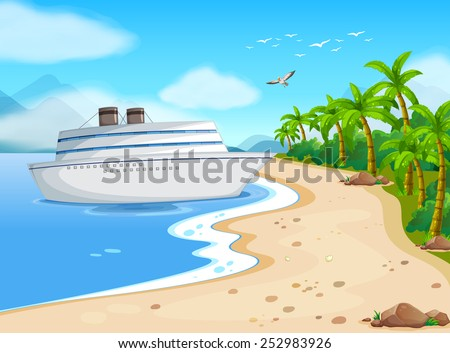 Illustration of a cruise porting on the shore - stock vector