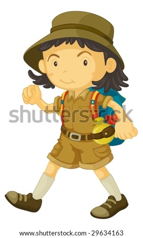 illustration of a cub scout in uniform - stock vector