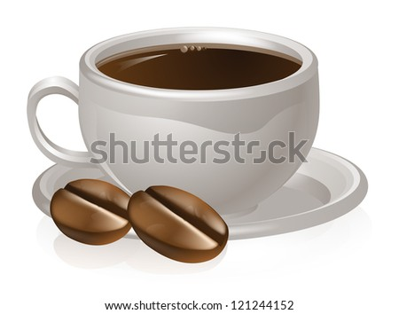 Illustration of a cup of coffee and coffee beans with white coffee cup and saucer - stock vector