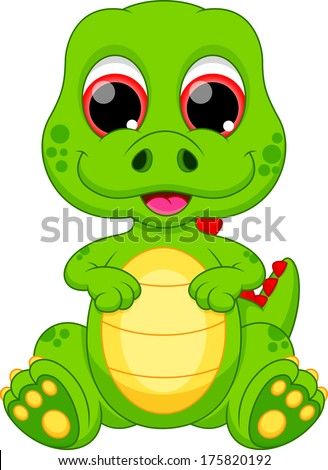 Illustration of a cute baby dinosaur - stock vector