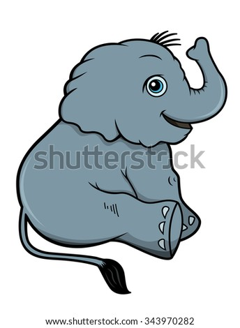 Illustration of a cute baby elephant - stock vector