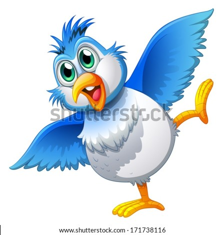 Illustration of a cute bird on a white background - stock vector