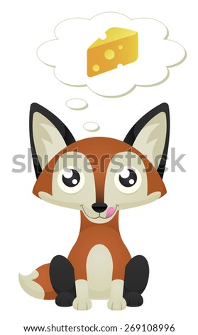 Illustration of a cute cartoon fox sitting with a hungry expression. Eps 10 Vector. - stock vector