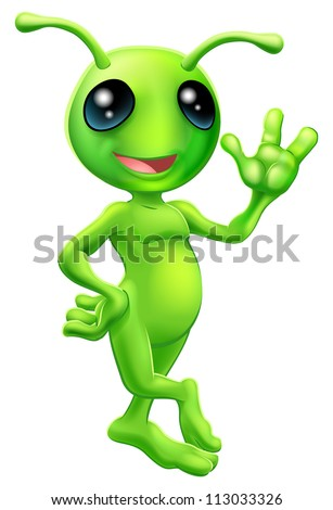 Illustration of a cute cartoon little green man alien mascot with antennae smiling and waving - stock vector