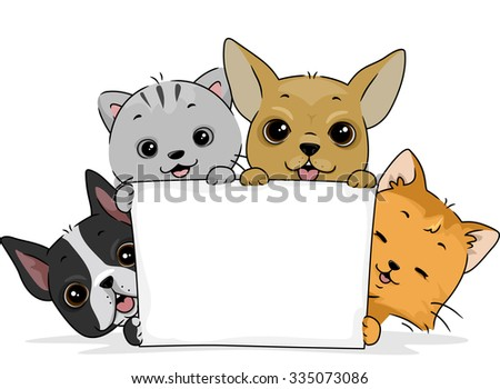 Illustration of a Cute Cat and a Pair of Cute Dogs Holding a Blank Board - stock vector