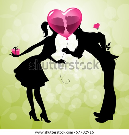 Illustration of a cute couple kissing behind heart-shaped balloon - stock vector