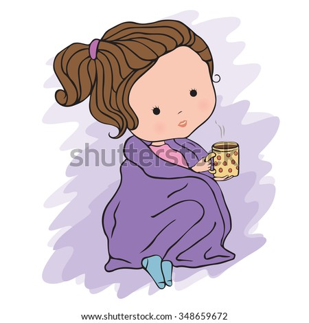 Illustration of a cute girl with a cup of tea sitting in plaid on a white background - stock vector