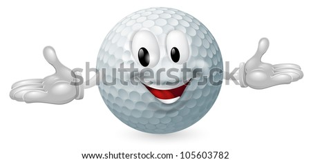 Illustration of a cute happy golf ball mascot man