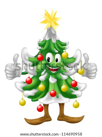 Illustration of a cute happy smiling Christmas tree mascot doing a thumbs up