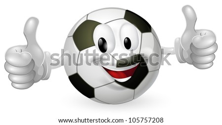 Illustration of a cute happy soccer football ball mascot man smiling and giving a thumbs up