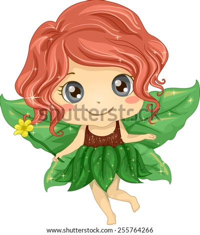 Illustration of a Cute Little Girl Wearing a Fairy Costume Made of Leaves - stock vector