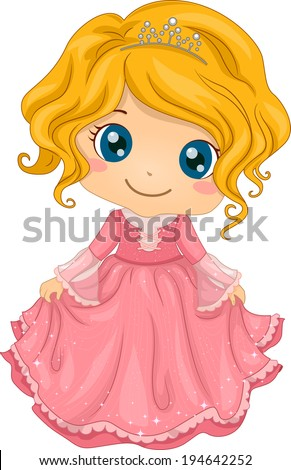Illustration of a Cute Little Girl Wearing a Princess Costume - stock vector