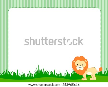 Illustration of a cute little lion on grass border / frame specially for kids  - stock vector