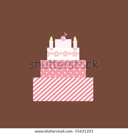 Illustration of a cute pink birthday/wedding Cake. - stock vector
