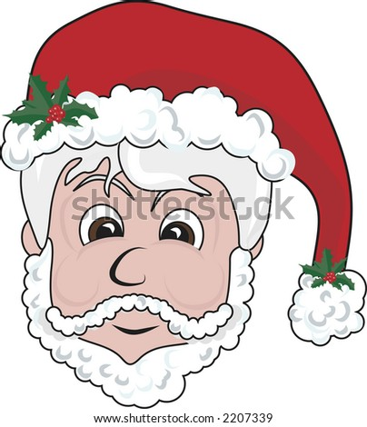 Illustration of a cute Santa's head. File contains no gradients.