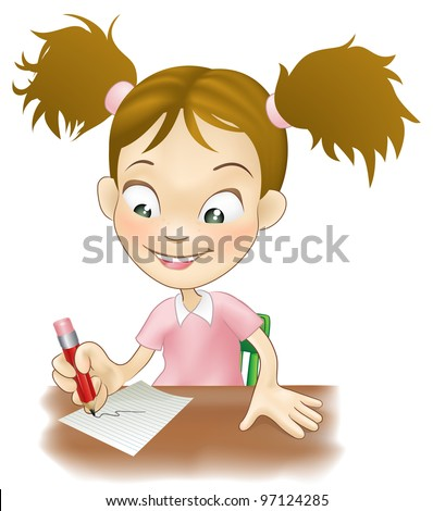 Illustration of a cute young girl sat at her desk writing on paper. - stock vector