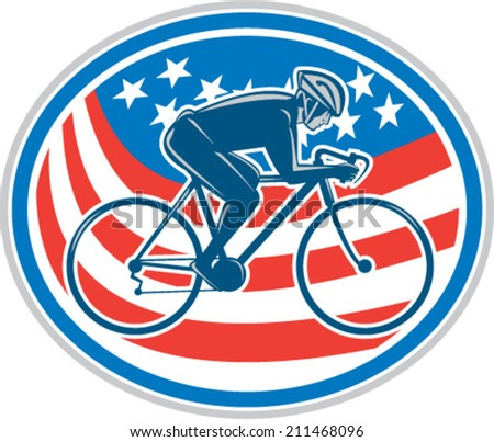 Illustration of a cyclist biking riding mountain bike facing side set inside oval with american flag stars and stripes in the background done in retro style.