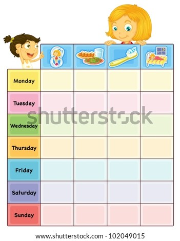 Illustration Daily Routine Chart Stock Vector   Shutterstock