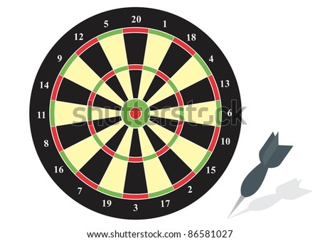 Illustration of a dart board with an arrow - stock vector