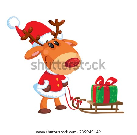 illustration of a deer and sled with box - stock vector