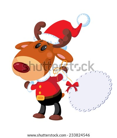 illustration of a deer Santa with banner - stock vector