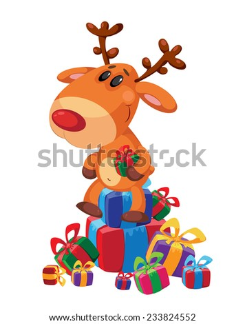 illustration of a deer sits on gifts box - stock vector