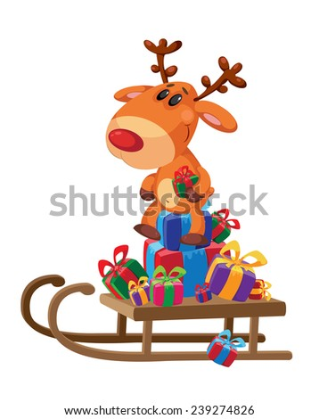 illustration of a deer sledge with gifts - stock vector