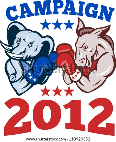 Illustration of a democrat donkey mascot of the democratic and republican elephant boxer boxing with gloves set inside circle done in retro style with words campaign 2012 - stock vector