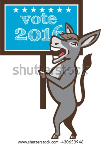 Illustration of a democrat donkey mascot of the democratic grand old party gop smiling holding a sign placard with Vote 2016 and stars set on isolated background done in cartoon style.  - stock vector