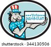 Illustration of a democrat donkey mascot of the democratic grand old party gop wearing American stars and stripes flag shirt hat presenting holding Vote Democrat sign done in cartoon style oval shape - stock vector