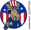 Illustration of a democrat donkey mascot of the democratic grand old party gop wearing hat and suit thumbs up set inside American stars and stripes flag circle done in cartoon style. - stock vector
