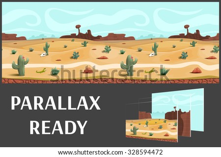 Illustration of a desert landscape ,with herbs, mountains and sky, vector unending background with separated layers for game.  - stock vector