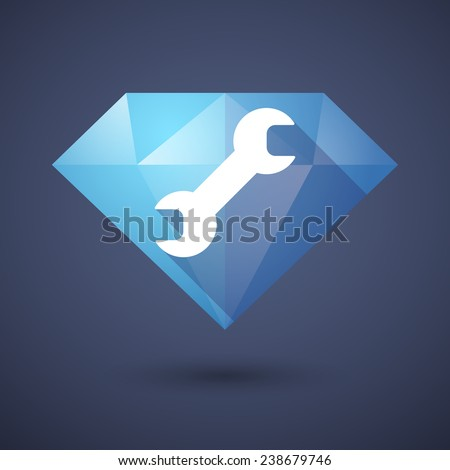 Illustration of a diamond icon with a monkey wrench - stock vector