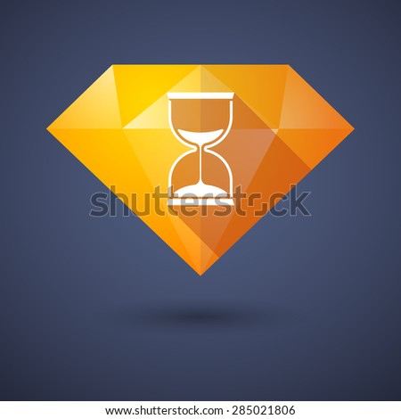Illustration of a diamond icon with a sand clock - stock vector