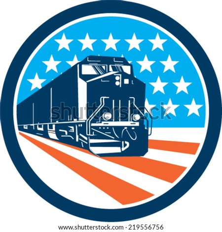 Illustration of a diesel train viewed from front set inside circle with american stars and stripes in the background done in retro style. - stock vector
